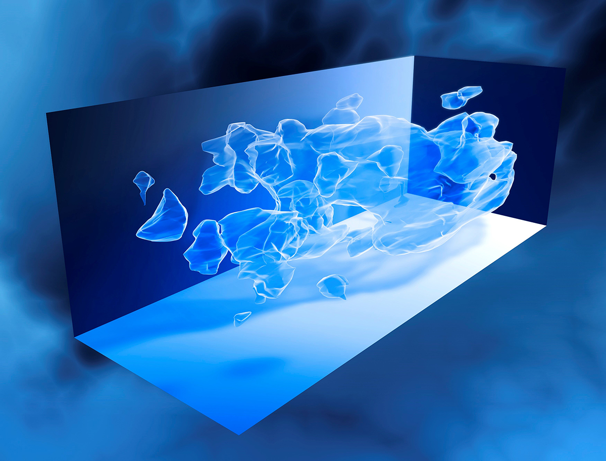 Carte 3D représentant l'évolution de la répartition de la matière noire dans l'Univers