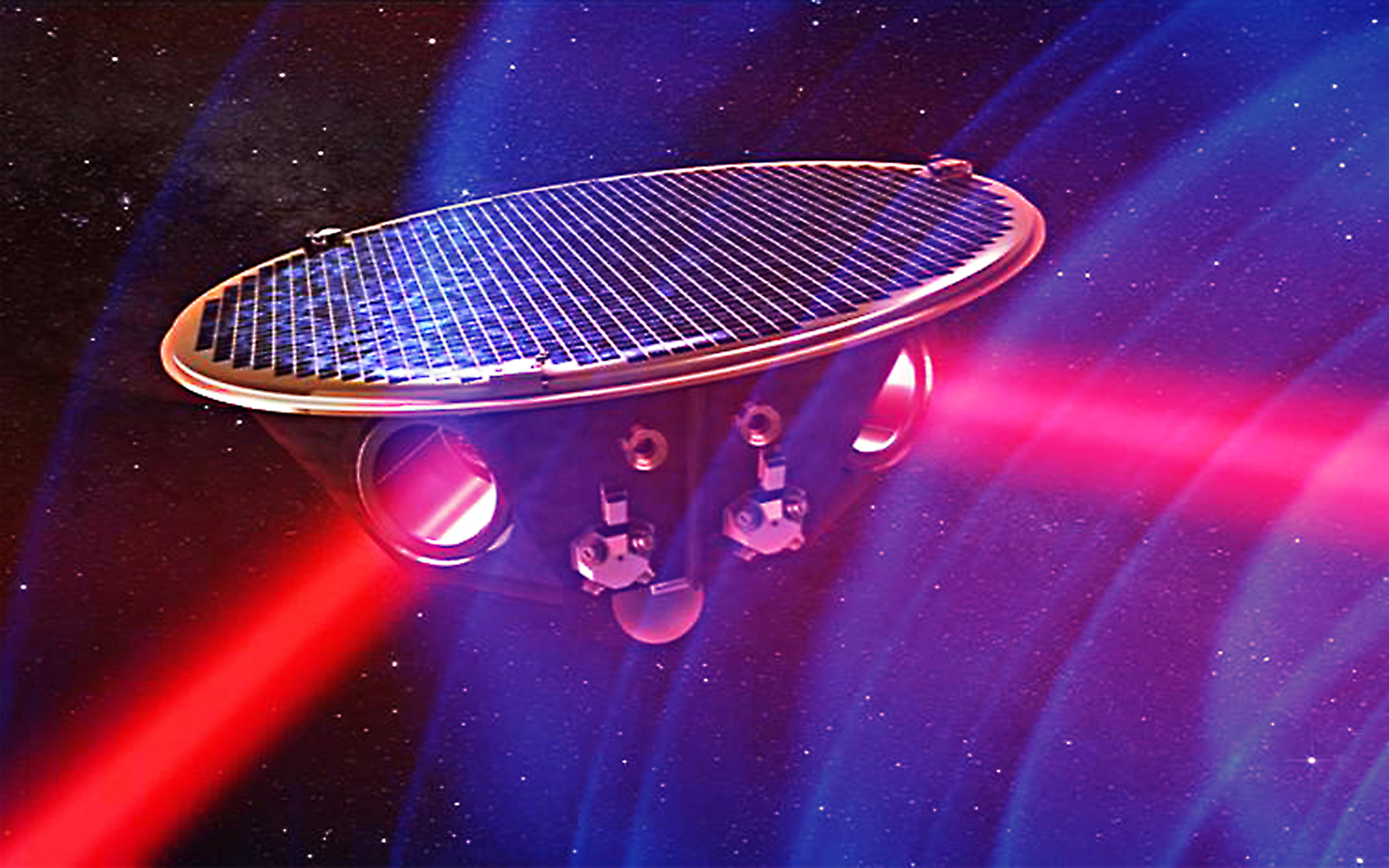Vue d'artiste d'un des trois satellites de la constellation eLISA