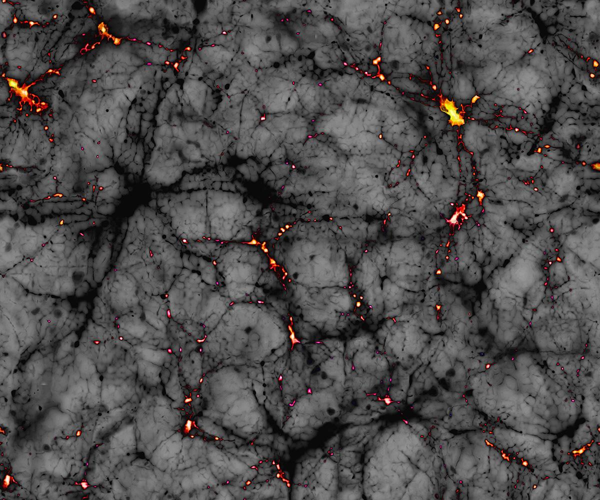 Vue d'artiste des filaments et halos (en jaune) de matière noire qui autour desquels se sont formées les grandes structures de l'Univers (galaxie, amas, etc.)