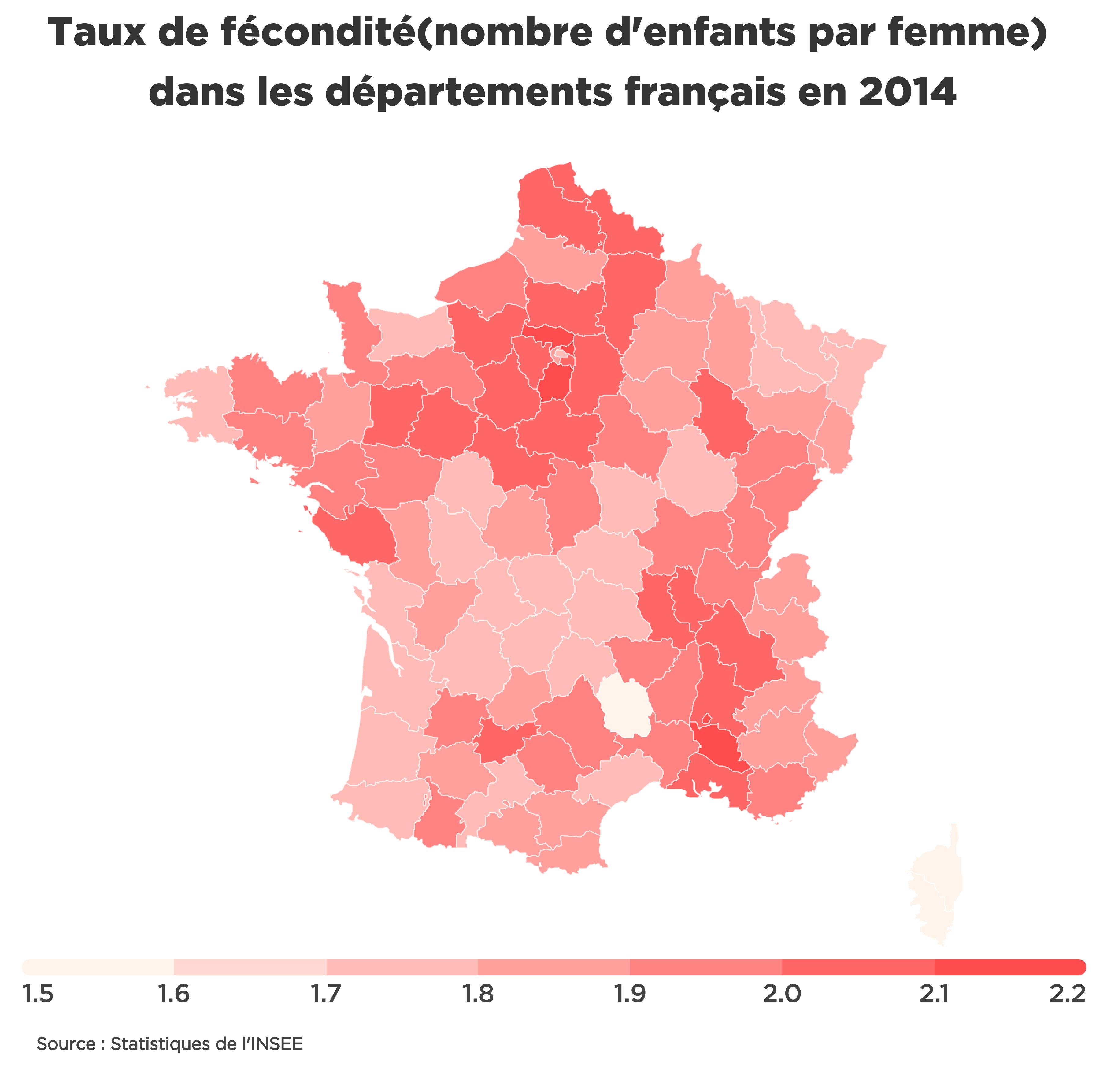 Infographie montrant différents taux de fécondité selon les départements