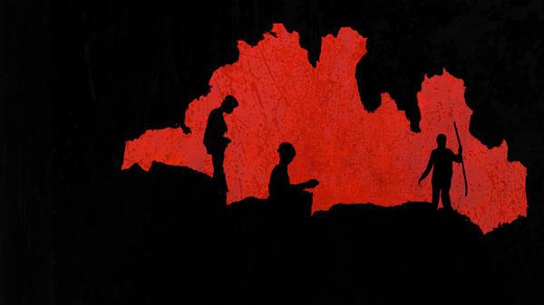 Image stylisée d'un grotte avec explorateurs en ombre chinoise