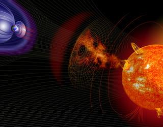 Eruption solaire et champ magnétique terrestre.