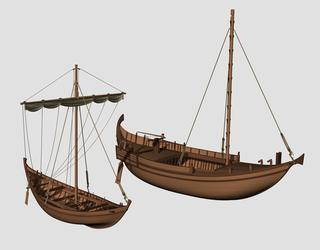 Navires de l'antique port de Rome