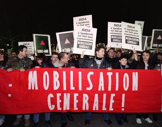 Manifestation d'Act up Paris le 1er décembre 1992