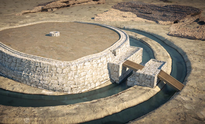 Image de synthèse d'une construction monumentale et circulaire