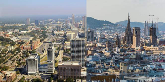Densités urbaines entre Atlanta et Barcelone.
