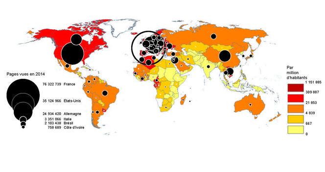 Fréquentation d'OpenEdition dans le monde.