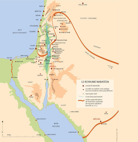 Carte du royaume nabatéen.