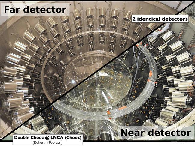 Photomontage montrant les deux détecteurs de neutrinos utilisés à Double Chooz