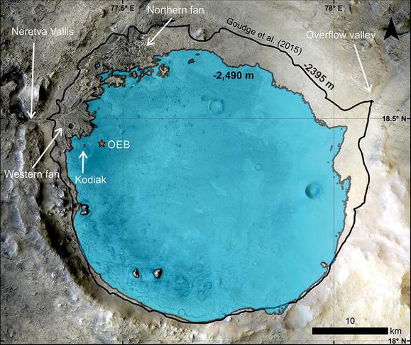 Niveau estimé du lac du cratère Jezero suite aux observations de Perseverance