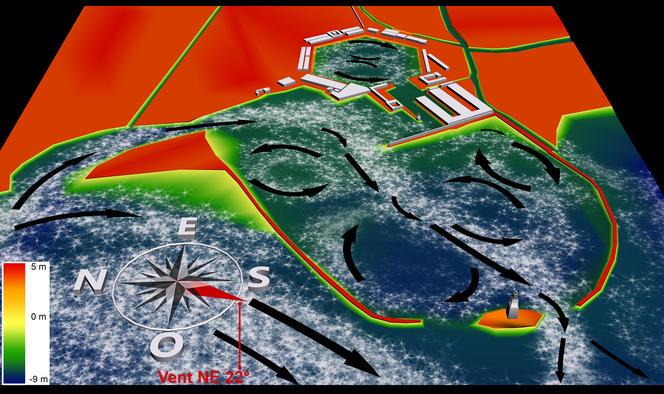 Modélisation des bassins portuaires de Portus. Vents d'hiver
