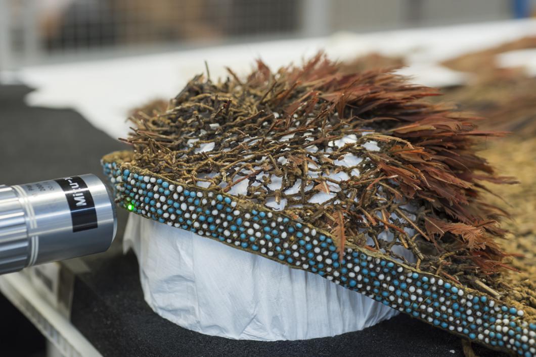 Perles d'une coiffe Tupinamba provenant du Brésil