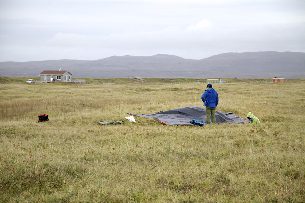 Échantillons de sable de l'isthme de Miquelon-Langlade prélevés sous une bâche