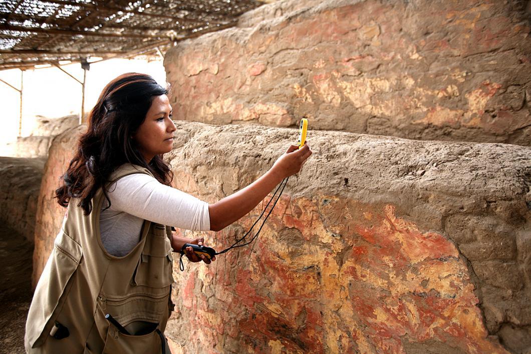 Décors muraux du Templo Pintado, au Pérou