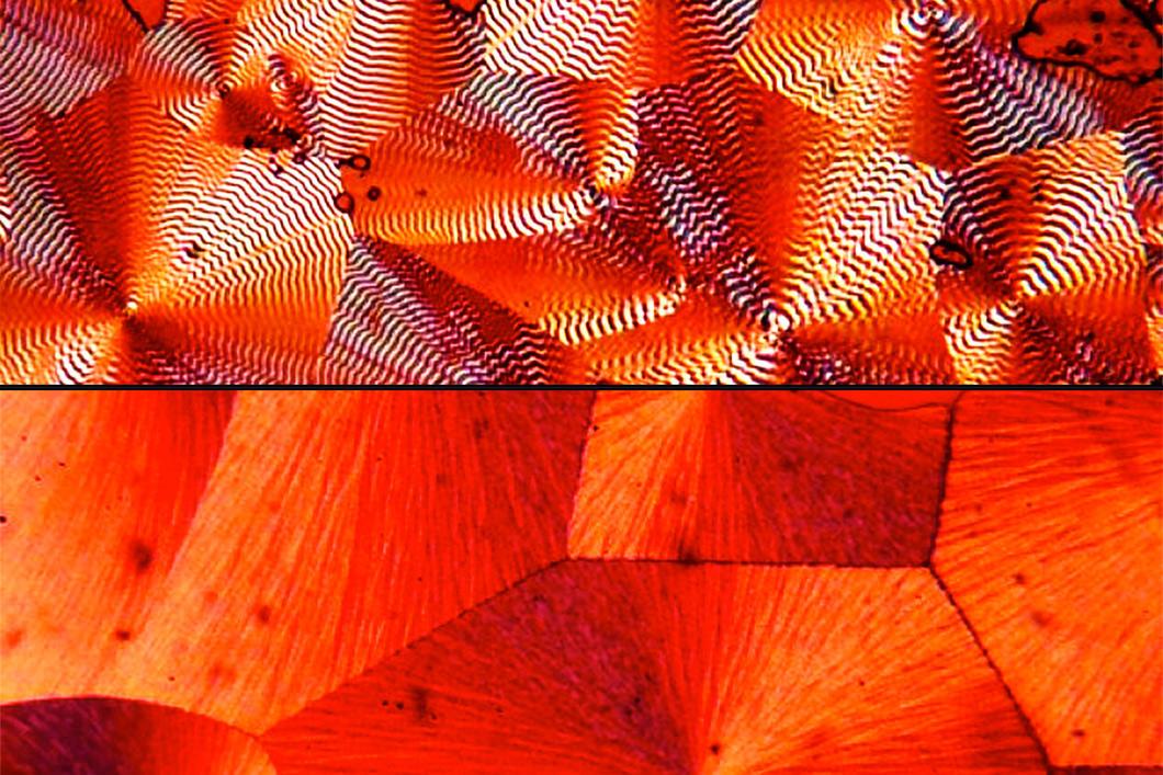 Image de microscope qui montre structure cristalline rouge.