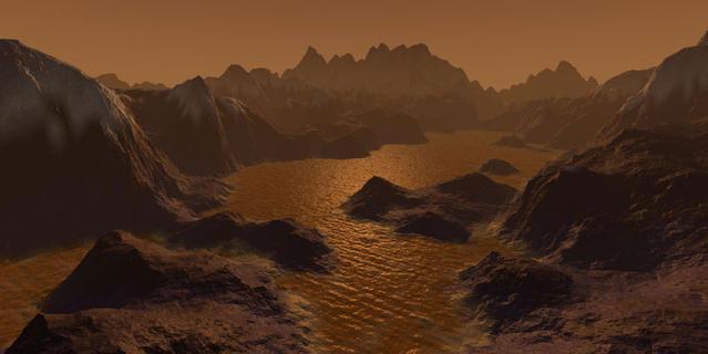 Vue d'artiste de la surface de Titan, satellite de Saturne