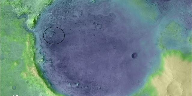 Vue colorisée du cratère Jezero et du site où s'est posé Perseverance.
