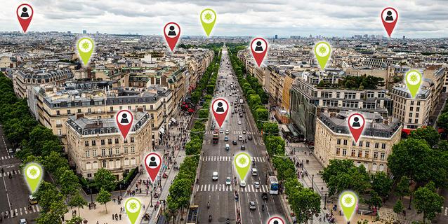 Illustration montrant la géolocalisation des habitants de la ville de Paris.