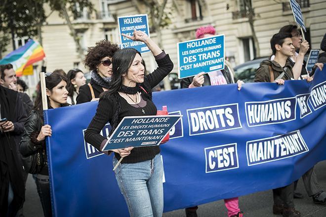 Manifestation pour les droits des trans.