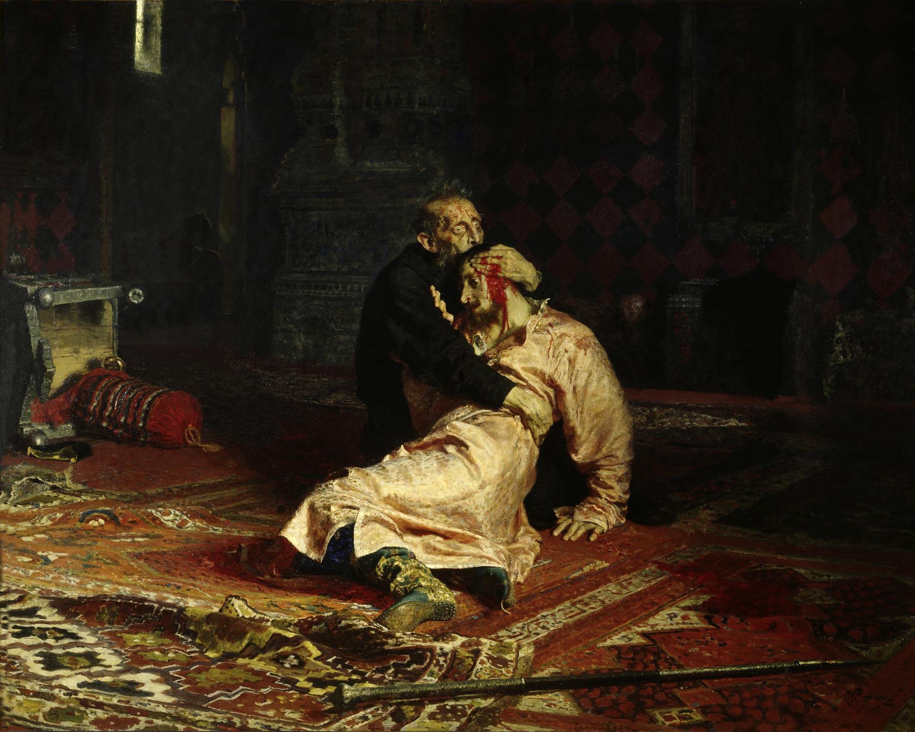 « Ivan le Terrible et son fils, Ivan, le 16 novembre 1581 », huile sur toile d'Ilya Répine.