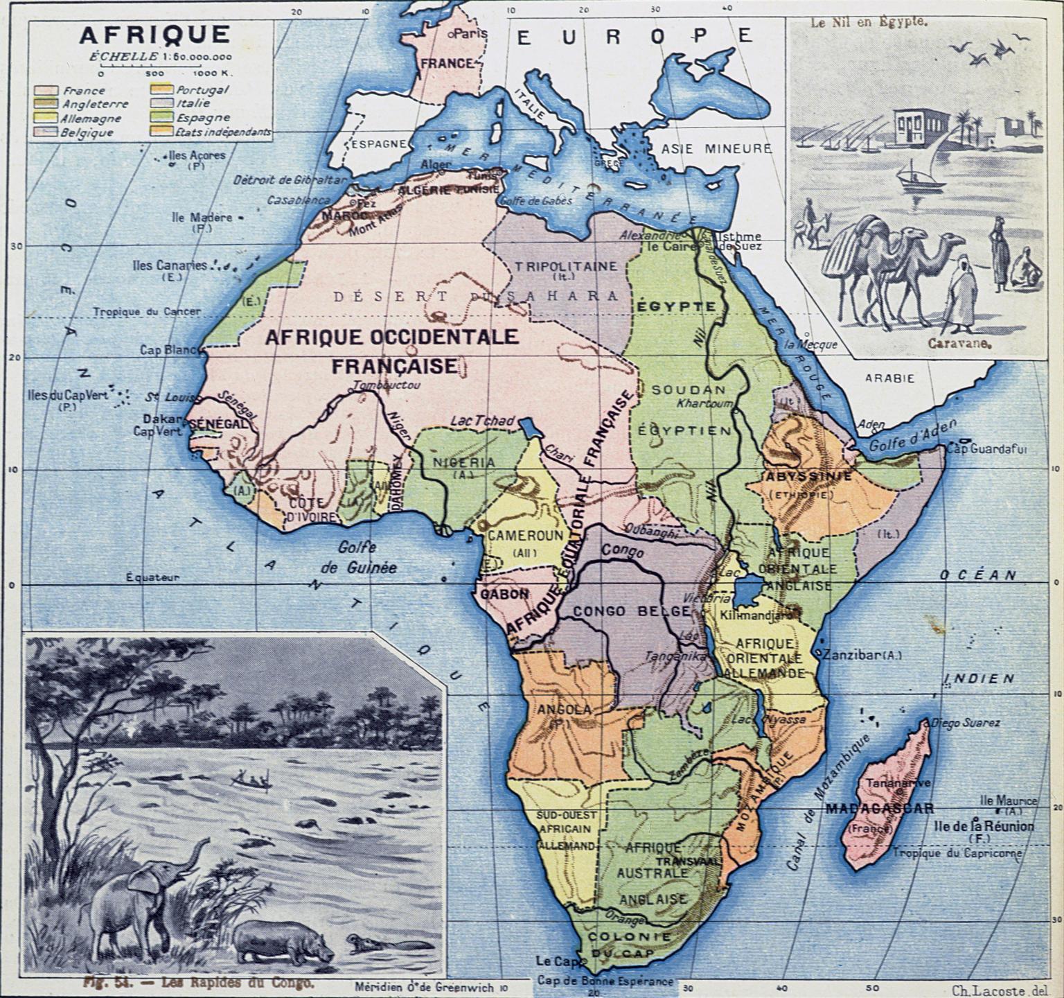 Carte de l'Afrique en 1911.