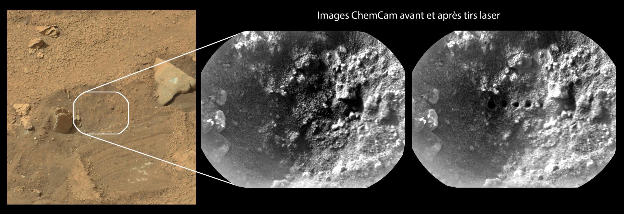 Images du sol martien prises avant et après les tirs laser de l'instrument ChemCam