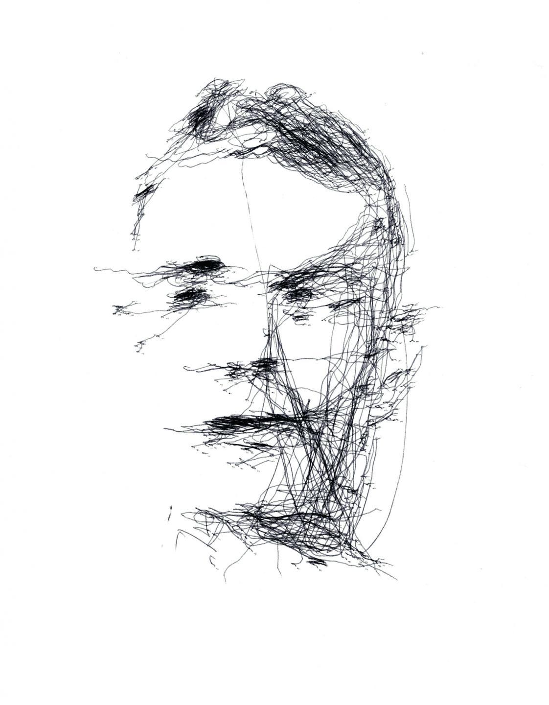 Portrait d'Alan Turing réalisé par le bras-robot du projet Aikon