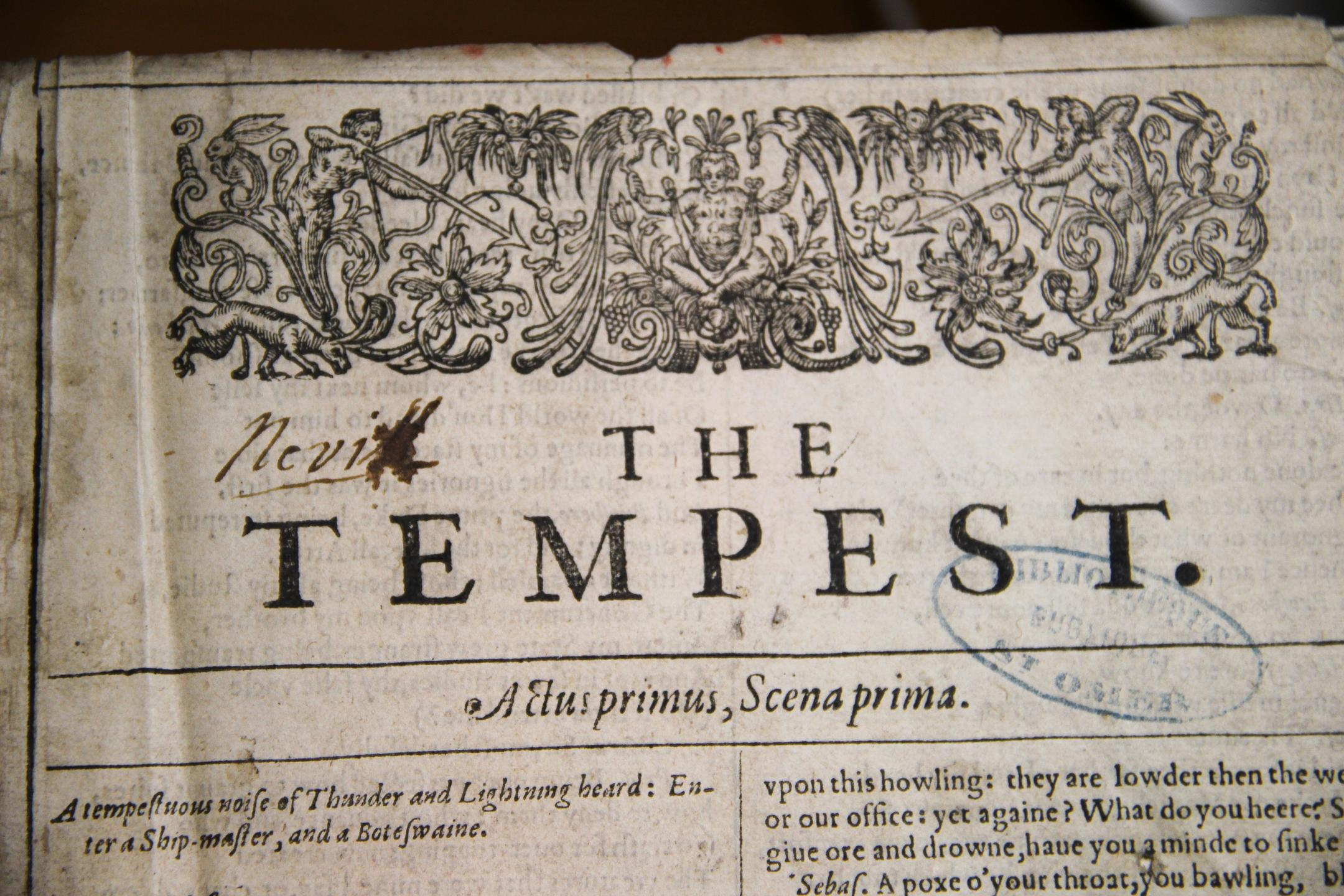 First Folio de Shakespeare, détail