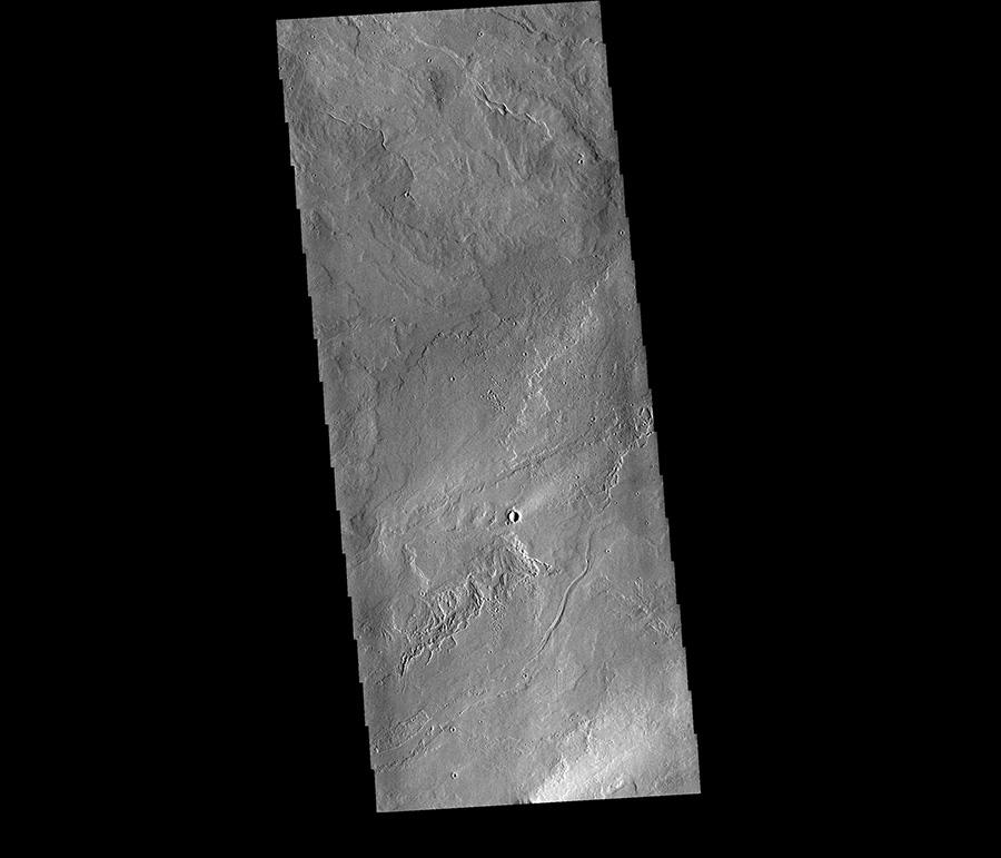 Vue satellite des coulées volcaniques de Tharsis.