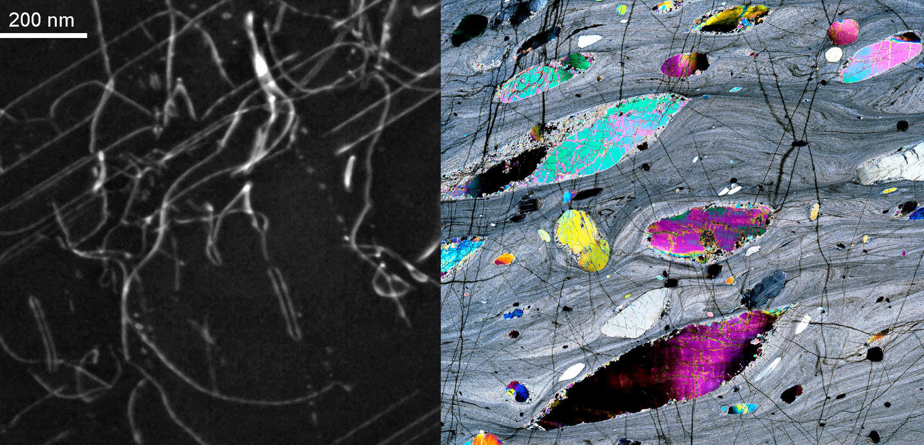 Cristaux d'olivine vus en microscopie électronique, et sous lumière polarisée
