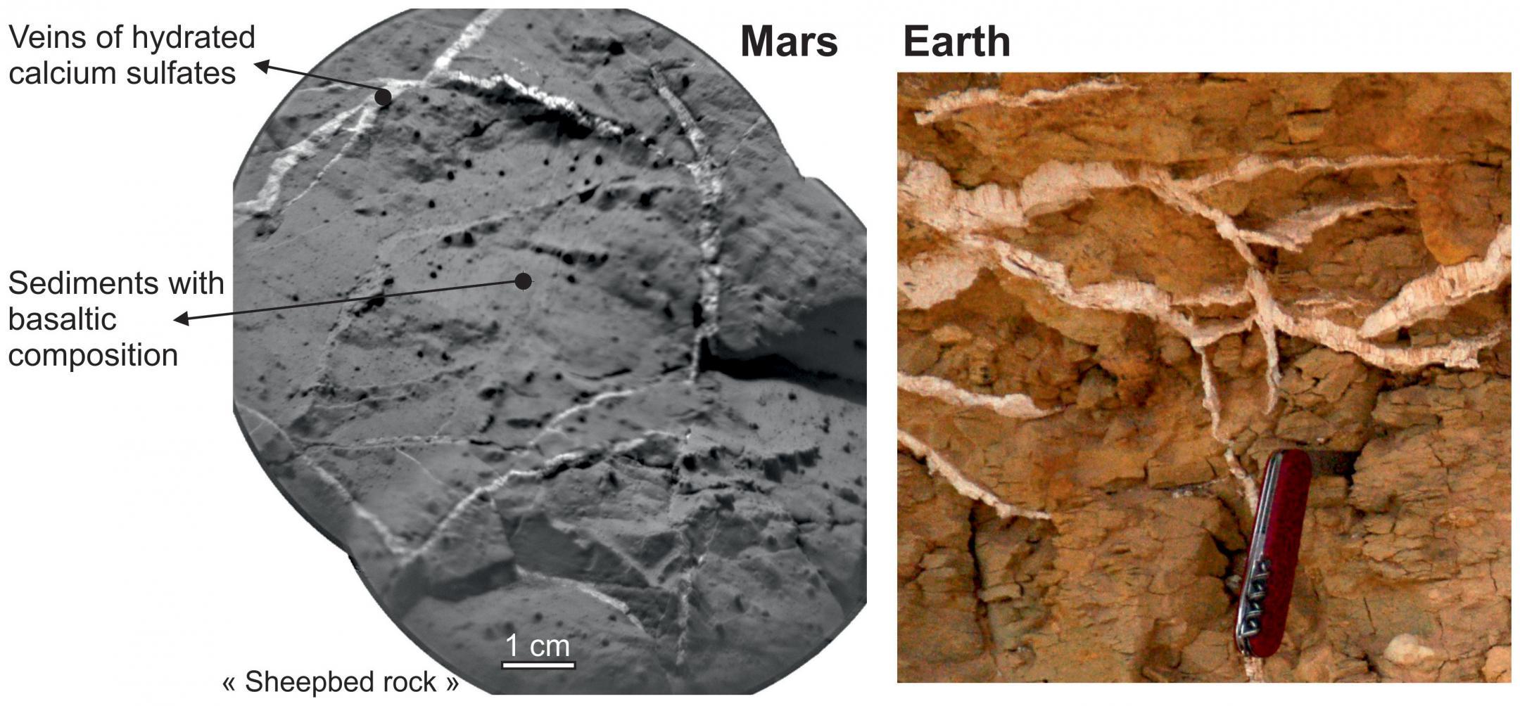 Images montrant des similitudes entre les sols martien et terrien
