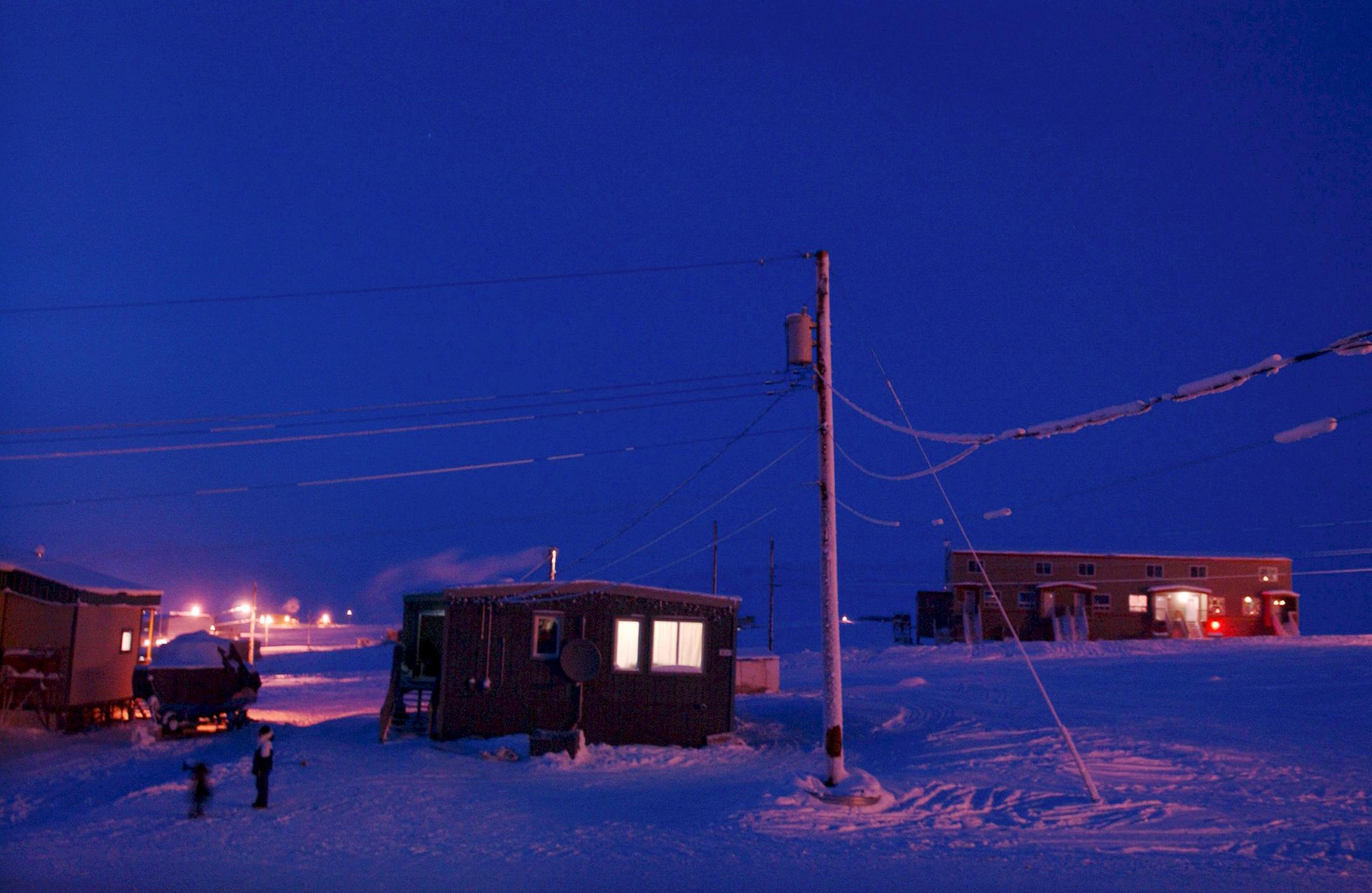 Maisons de la communauté Inuit dans le Grand Nord canadien