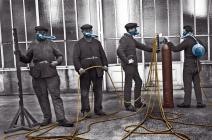 Masques à gaz avec bouteille collective, Première Guerre mondiale
