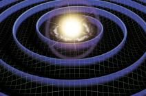 Vue d'artiste montrant des ondes gravitationnelles