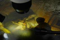Détail de tableau avec objectif de microscope