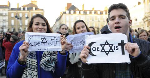 Marche républicaine le 11 janvier 2015 à Rennes.