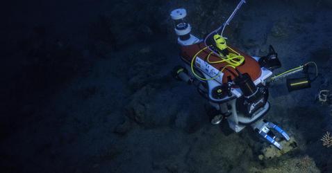 Robot explorant une épave sous-marine