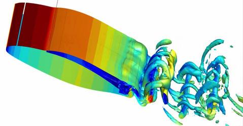 Simulation aérodynamique sur aile d'avion