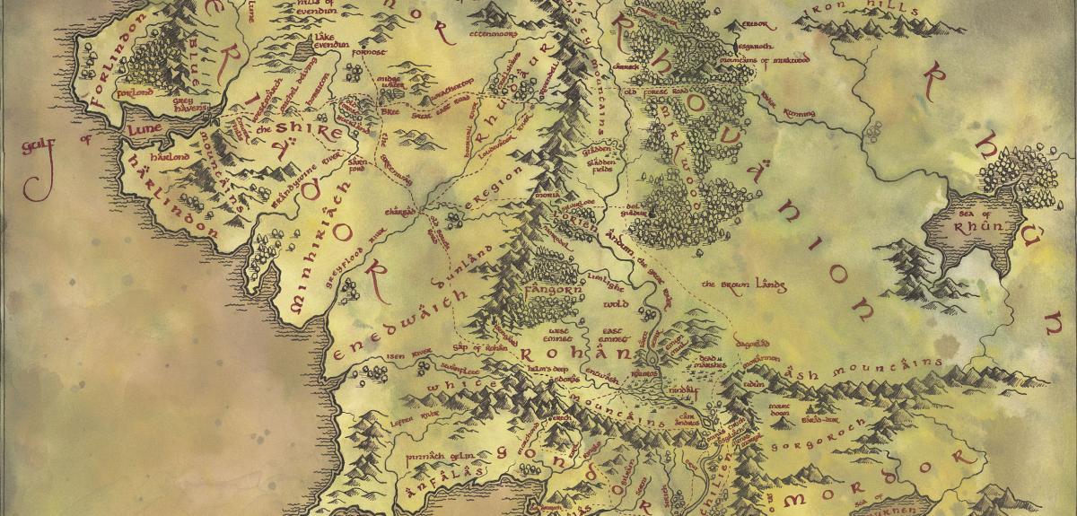 carte terre du milieu hd Chez Tolkien, l'amour des mots précède l'intention mythologique
