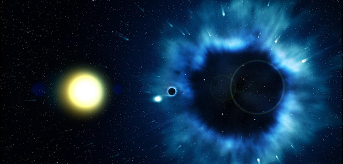 Vue d'artiste montrant une étoile proche d'un trou noir dans la Voie lactée