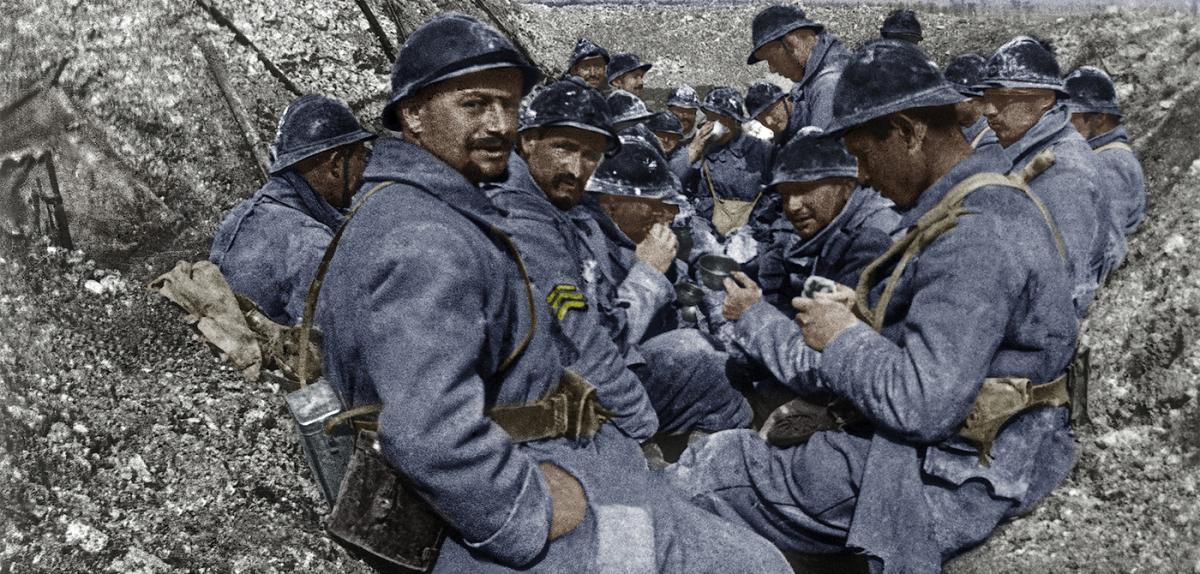 Soldats dans une tranchée à Verdun