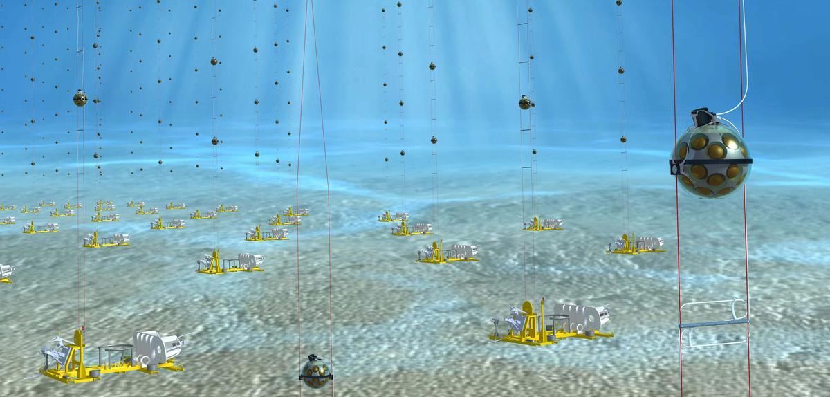 Image de synthèse d'un grand instrument scientifique sous marin fait d'enfilade de détecteurs sphériques