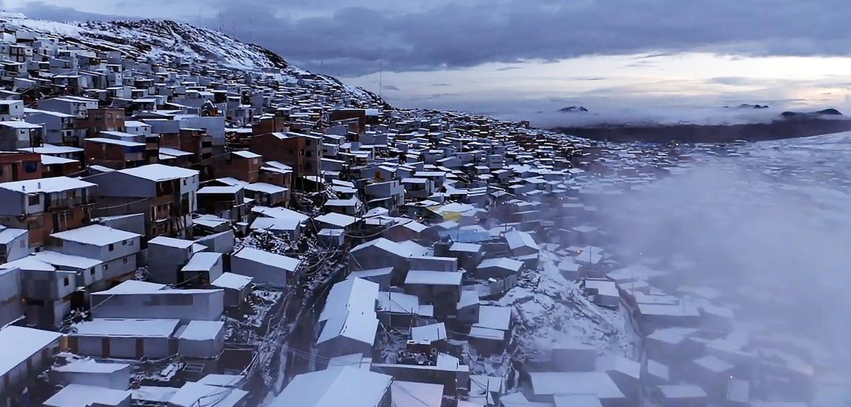 Vue aérienne de la ville la plus haute du monde