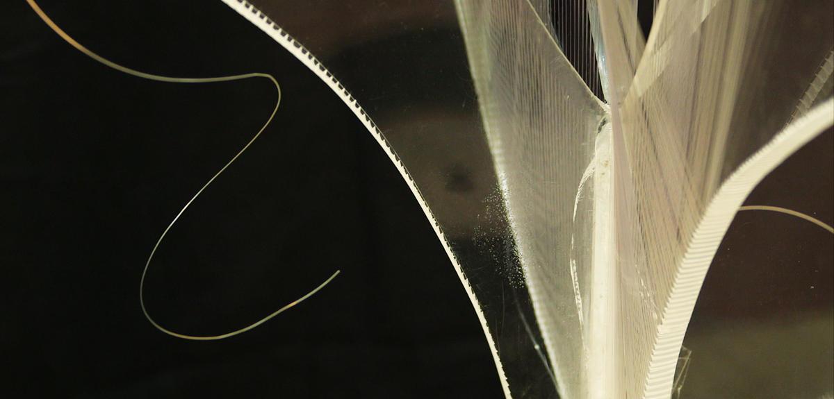 Fil de nylon qui pend devant un oeuvre d'art contemporain
