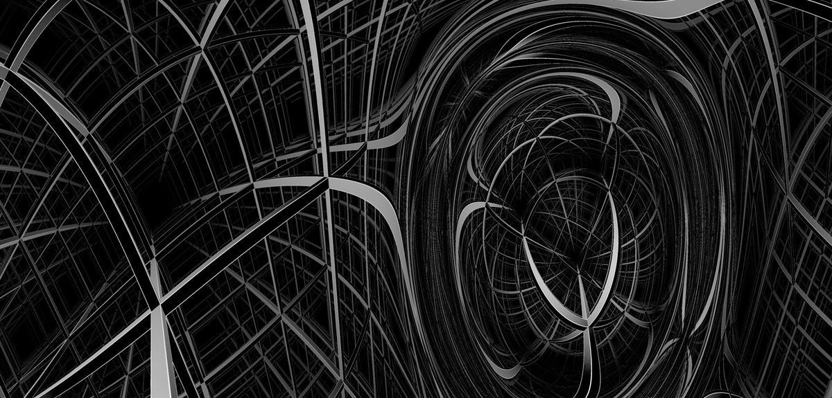image en noir et blanc d'un espace géométrique déformé