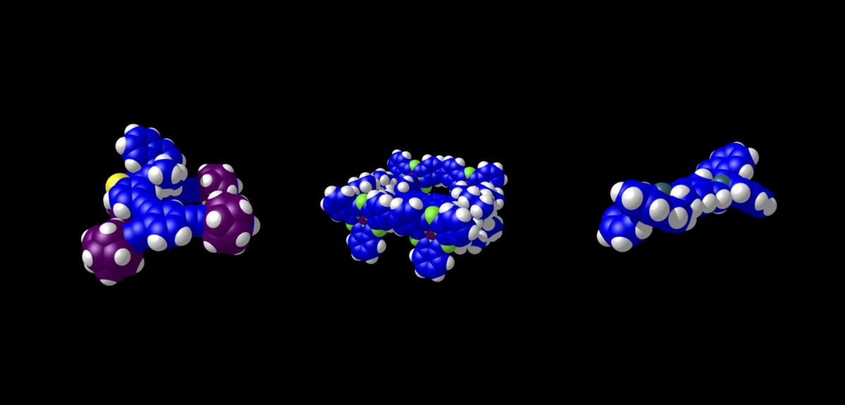 trois molécules sur fond noir