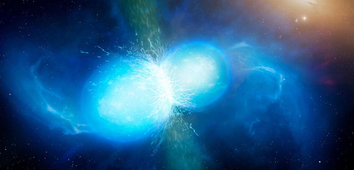Vue d'artiste de la fusion de deux étoiles à neutrons