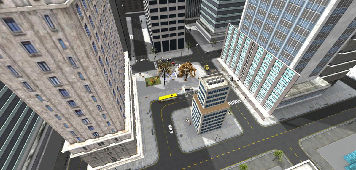 Vue virtuelle depuis le haut d'un immeuble.