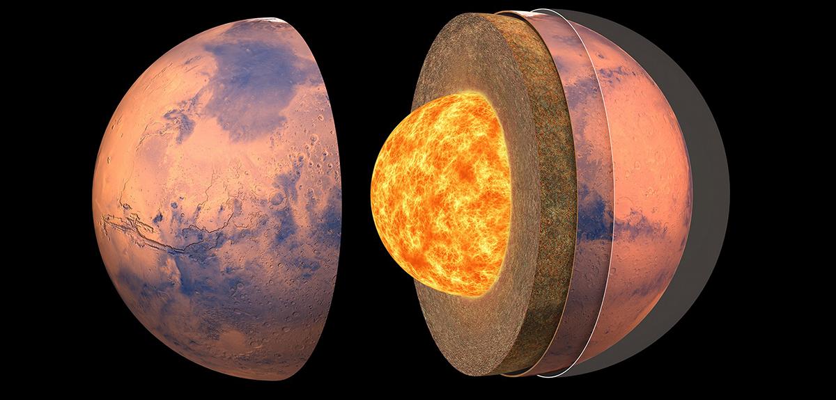 Vue d'artiste de la structure interne de Mars.