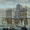 Peinture montrant un pont sur lequel ont été construits des immeubles